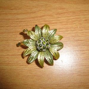 Vintage Green Flower Pin Brooch Sparkly Center